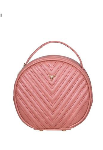 Verchini pink Verchini Round Tote Bag 058A4ACD32F29BGS_1