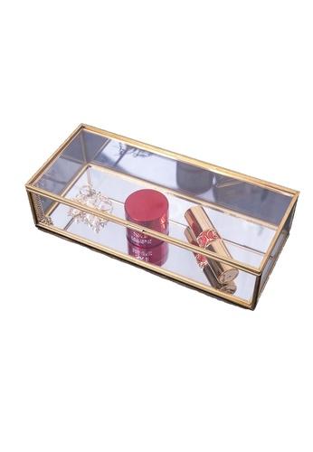 Propstation Brass Mirrored Glass Keepsake Decorative Box - 23cm 712C4HLA00E779GS_1