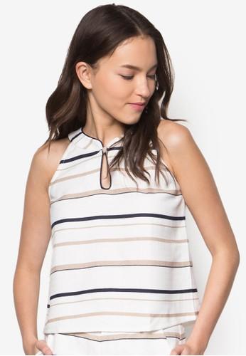 Dorita Stripes Cheongsam Top, zalora 手錶服飾, 上衣
