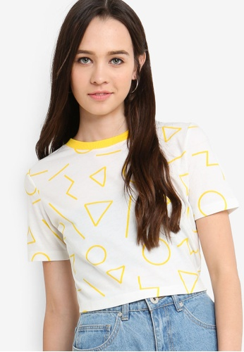 Something Borrowed white Printed Fitted Crop Top 188BFAA865E4F8GS_1
