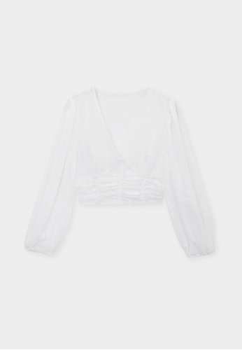 Pomelo white Ruched Puff Sleeve Crop Blouse - White DFC2EAA8170F00GS_1