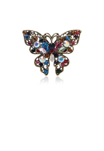 Glamorousky silver Fashion Vintage Plated Gold Butterfly Brooch with Colorful Cubic Zirconia 70762ACDE44142GS_1