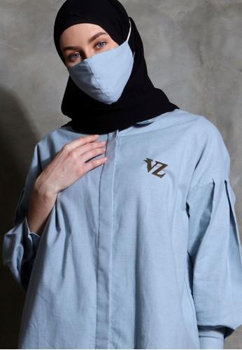 Vivi Zubedi blue Linen plain shirt 6046BAA97167EBGS_1