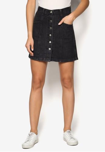 單排扣丹寧迷你短裙、 服飾、 裙子SomethingBorrowed單排扣丹寧迷你短裙最新折價