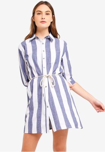ZALORA BASICS multi Basic Contrast Self Tie Shirt Dress AA329AAE734A7DGS_1