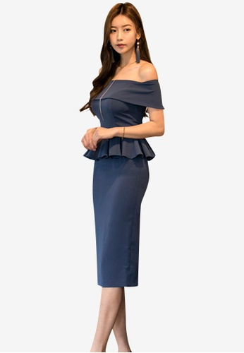Sunnydaysweety blue 2018 S/S New Off Shoulder Peplum One Piece Dress 3D952AA34F7A3DGS_1