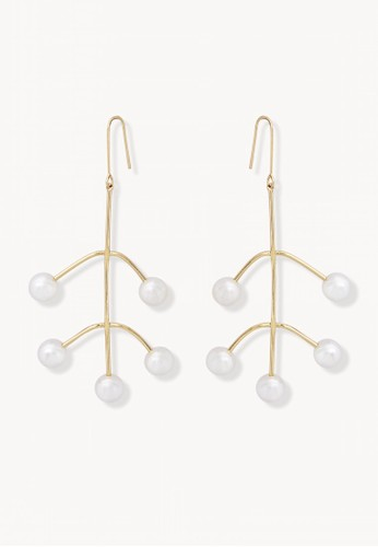 Pomelo gold Pearl Tree Shape Dangle Earrings - Gold 0218AACBE4C550GS_1