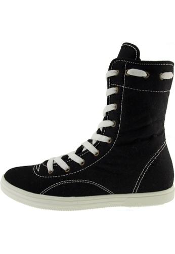 Maxstar 黑色 新款韩国鞋8119-9H時尚帆布布混合女黑色 US Women Size MA345SH41HDETW_1