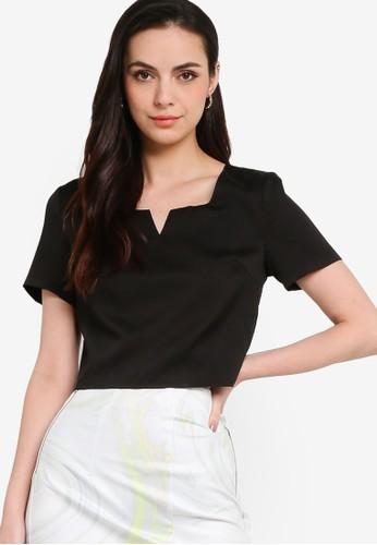 ZALORA WORK black Notch Neck Tailored Top 7B42CAAC57796AGS_1