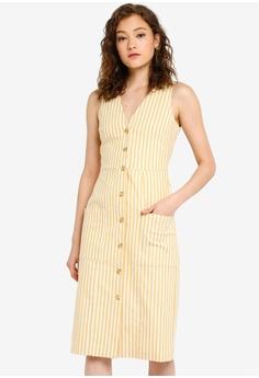 9579b215b55 WAREHOUSE multi Cotton Stripe Button Dress 1F4E0AA1A5E07FGS 1