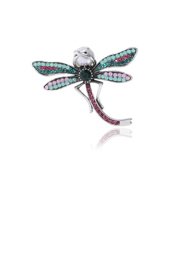 Glamorousky white Fashion and Elegant Dragonfly Imitation Pearl Brooch with Cubic Zirconia 7E1EAACB7B27FBGS_1
