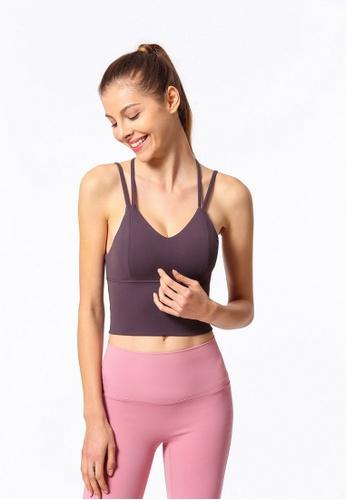 ZITIQUE purple Fitness And Yoga Sporty Bra Top - Purple. 13BBEUS8CCF513GS_1