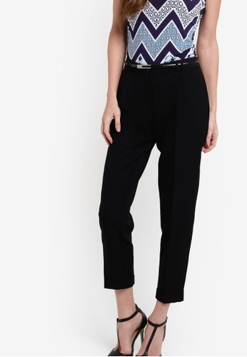 Dorothy Perkins black Black Poly Peg Leg Trousers DO816AA32NGDMY_1