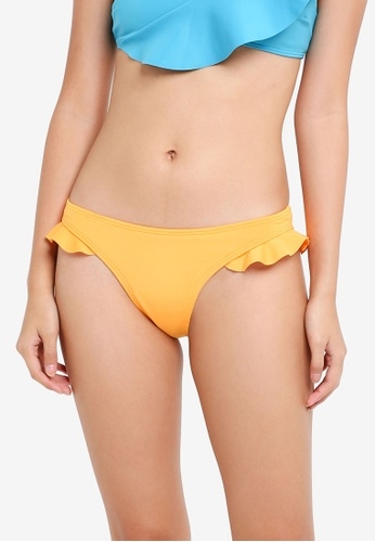 River Island orange Yellow Frill Side High Leg Bikini Bottoms 231C4US3CFF19EGS_1