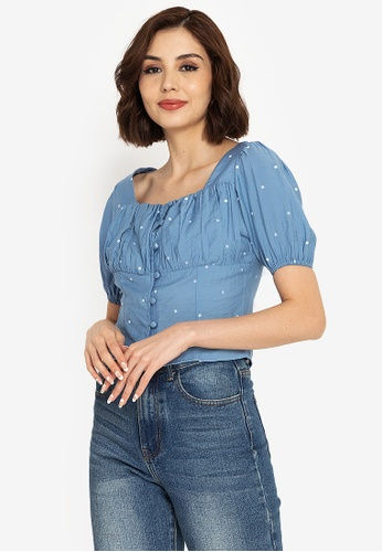 ZALORA BASICS blue Ruched Button Front Top 410FEAA279C276GS_1