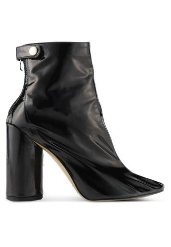 Public Desire black Vinyl Stud Strap Ankle Boots PU378SH0SIOWMY_1