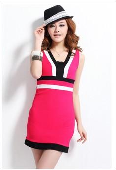V-Neck Sleeveless Bodycon Dress