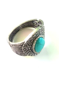 Oxidized Paved Bangle in Turquoise