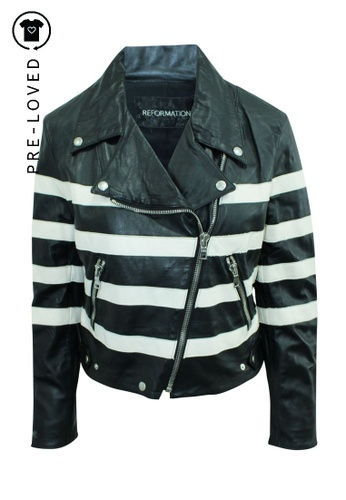 Reformation black Pre-Loved reformation Black and White Striped Leather Jacket CC265AAF7B07FDGS_1