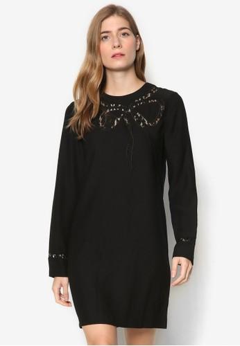 蕾絲esprit分店蝴蝶結長袖連身裙, 服飾, 洋裝