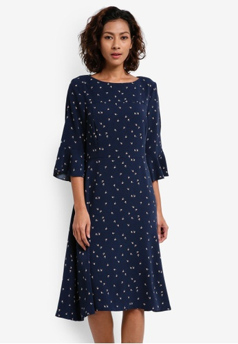 ESPRIT navy Light Woven Midi Dress 8CF35AA449B6D6GS_1