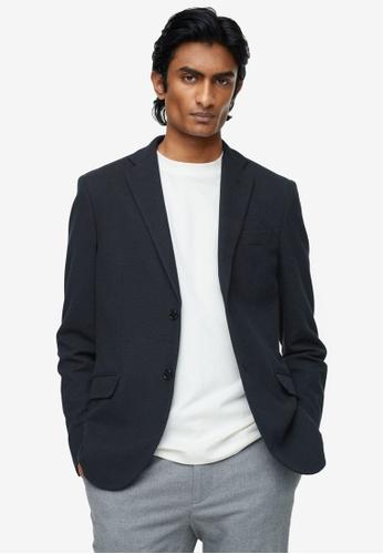 MANGO Man blue Cotton Knit Blazer F0F91AAF6A3C25GS_1