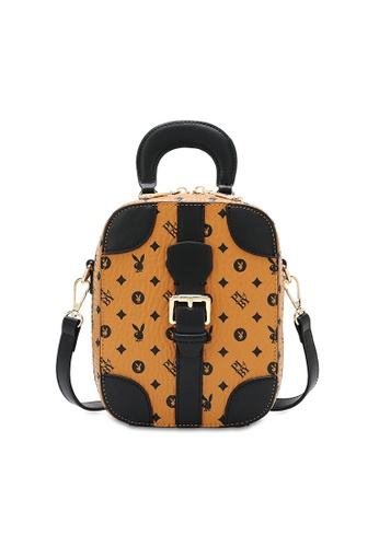 PLAYBOY BUNNY brown Belted Top Handle Sling Bag B37DBAC308A4D4GS_1
