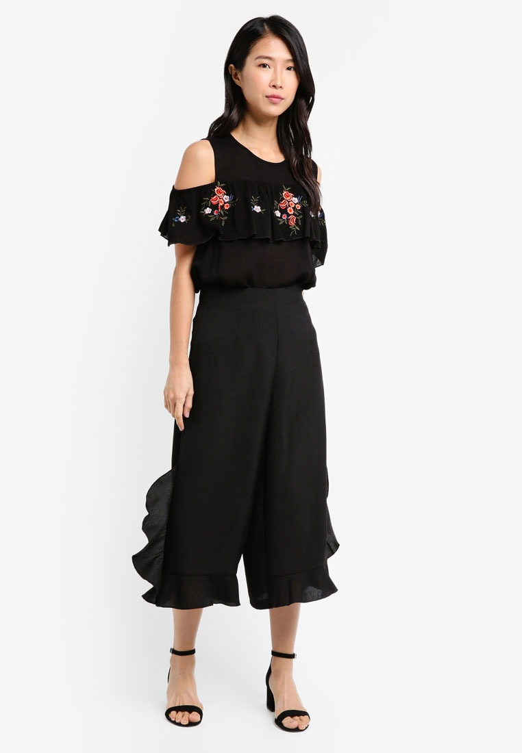 Black Top ZALORA Embroidered Ruffle Sleeveless fwqH7IvS