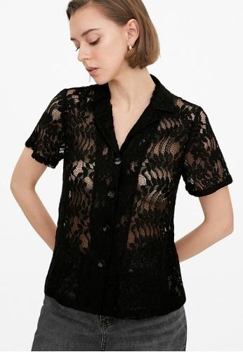 Pomelo black Lace Button Up Short Sleeve Shirt - Black 845DAAAA73E2E3GS_1