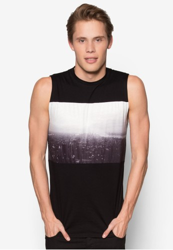 Cityscape Printed Muscle Tee