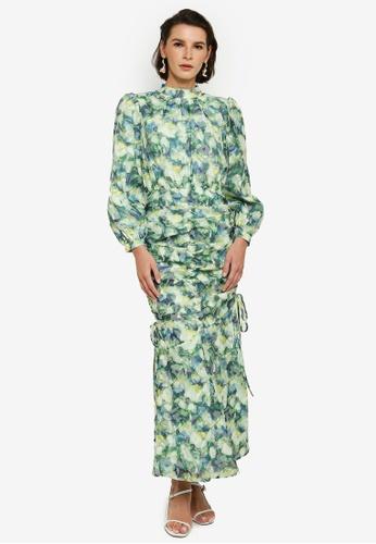 Zalia 綠色 and 藍色 Textured Ruching Dress 0303AAA1C3DD76GS_1