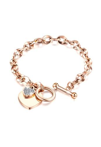 Bullion Gold gold BULLION GOLD Diamond cut Belcher Chain T-lock Toggle Bracelet in Rose Gold Layered Steel Jewellery F78C4ACF4C69A0GS_1