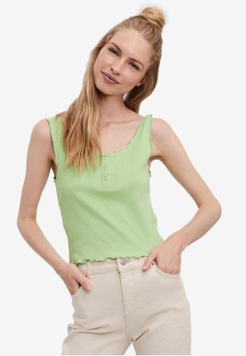 Vero Moda green Sleeveless Button Top EDD87AA8800400GS_1