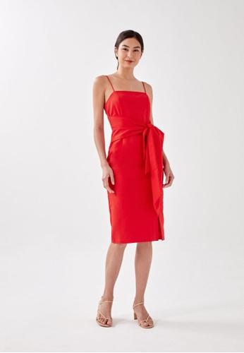 Love, Bonito orange Maxwe Knot Front Midi Dress 18A3EAA63965EDGS_1