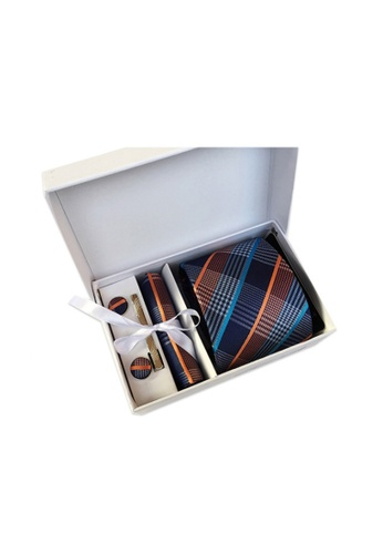 Kings Collection blue Blue Tie, Pocket Square, Cufflinks, Tie Clip 4 Pieces Gift Set (KCBT2042) A72ACAC679E68BGS_1