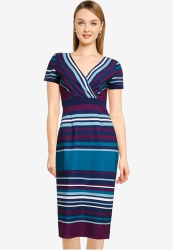 Paper Dolls multi Stripe Wrap Dress 39DEAAAE9A0D87GS_1