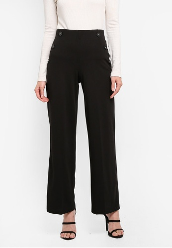 Miss Selfridge black Button Wide Leg Trousers C1393AA2C944F5GS_1