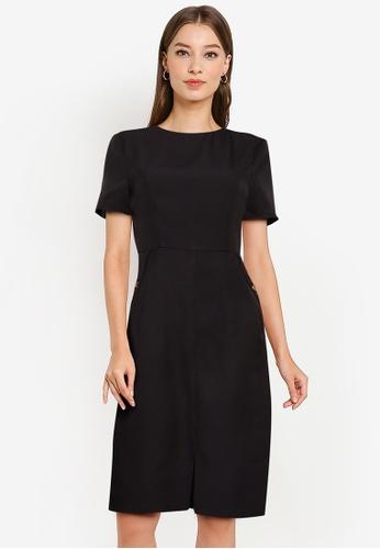 ZALORA WORK black Short Sleeve Sheath Dress 13EC7AA83B96F4GS_1