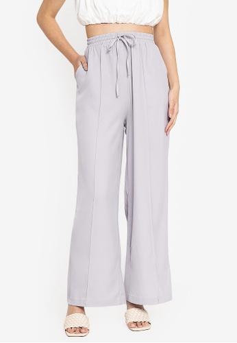 ZALORA BASICS grey Drawstring Wide Leg Pants BE48DAA46C4E0AGS_1