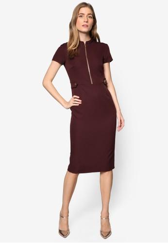 直排拉鍊按扣飾短袖連身裙, 服飾, esprit mongkok洋裝