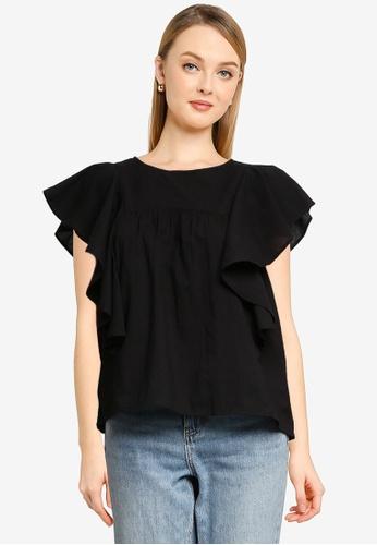 LOWRYS FARM black Ruffled Sleeves Blouse 1F8D2AA702CDADGS_1