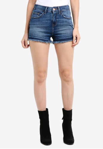 River Island blue Hollie Hot Pant Denim Shorts AEBDEAA90BB8E4GS_1