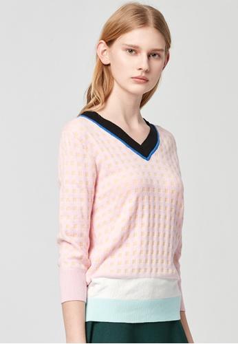 iROO multi Contrast Knitted Top B1FBBAAA778126GS_1