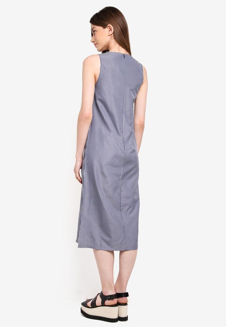 Based Stripes Graphic Something Midi Navy Borrowed Striped Dress With xOqRw88p0