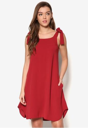 蝴蝶結肩帶寬zalora 鞋評價擺洋裝, 服飾, 洋裝