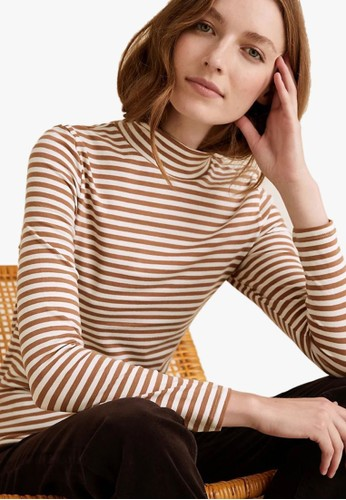 MARKS & SPENCER beige Cotton Striped Funnel Neck Fitted Top 8CA23AA11562DBGS_1