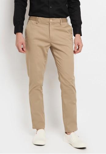 The Executive beige Slim Fit Formal Pants B4094AA27F8CB5GS_1