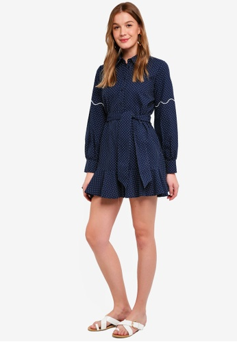 The Fifth Label blue and navy Village Shirt Dress C7688AA61E906EGS_1
