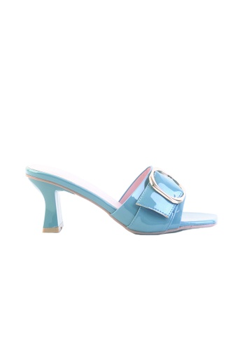 Alfio Raldo blue Blue Patent Leather Block Heel with Buckle Detail  E8903SHD8DDABDGS 1