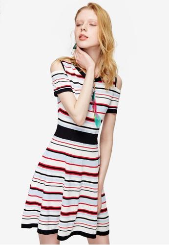 Hopeshow multi Multi Stripe Cold Shoulder Dress AA5C2AACCC2C47GS_1
